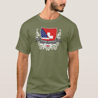 Bandera Suizo-Americana del escudo Playera