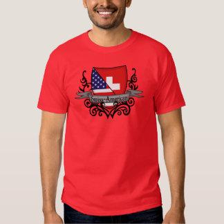 Bandera Suizo-Americana del escudo Poleras