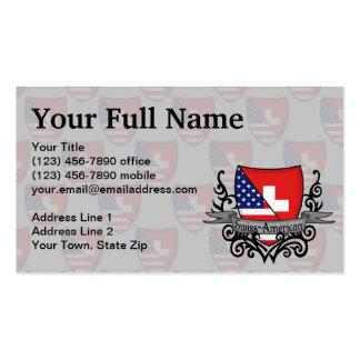 Bandera Suizo-Americana del escudo Tarjetas De Visita
