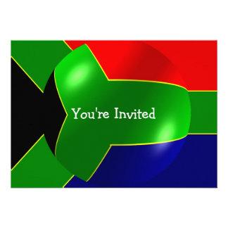Bandera surafricana con la invitación de la burbuj