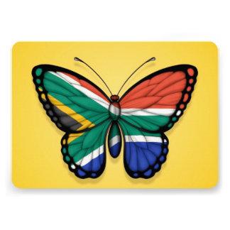 Bandera surafricana de la mariposa en amarillo invitación