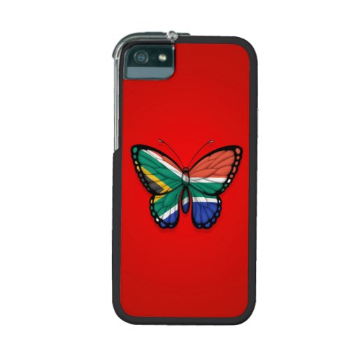 Bandera surafricana de la mariposa en rojo