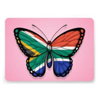 Bandera surafricana de la mariposa en rosa comunicados personales