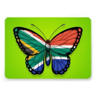 Bandera surafricana de la mariposa en verde comunicados personalizados