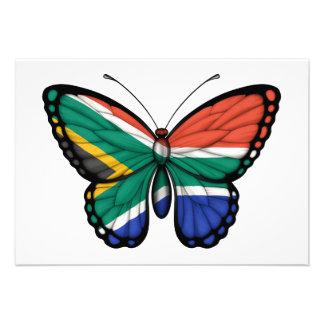 Bandera surafricana de la mariposa invitación
