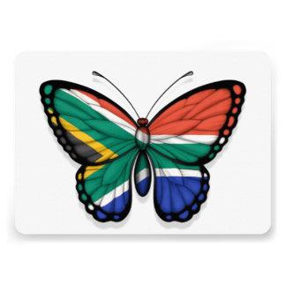 Bandera surafricana de la mariposa invitacion personalizada