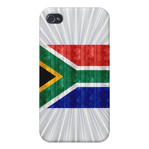 Bandera surafricana de madera iPhone 4 fundas