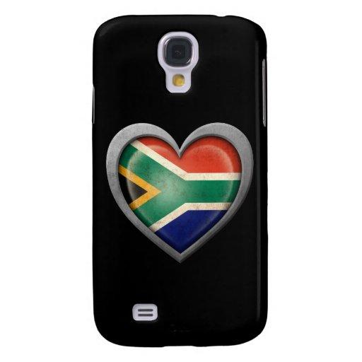 Bandera surafricana del corazón con efecto del met funda para galaxy s4