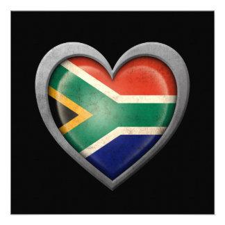 Bandera surafricana del corazón con efecto del met anuncio personalizado