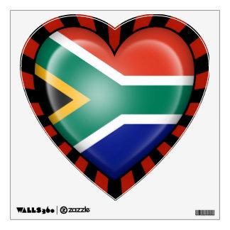 Bandera surafricana del corazón con la explosión d vinilo