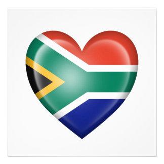 Bandera surafricana del corazón en blanco comunicados personales
