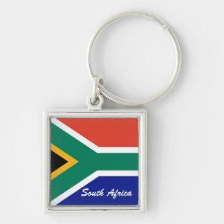 Bandera surafricana del cuadrado de la bandera llavero cuadrado plateado