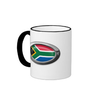 Bandera surafricana en el marco de acero taza de café