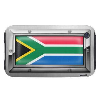 Bandera surafricana en un marco de acero funda resistente para iPhone 3