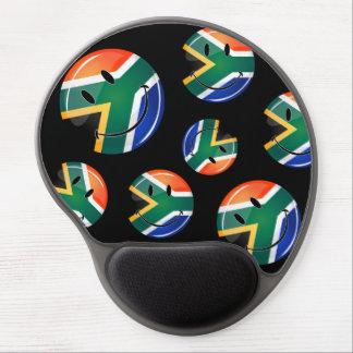 Bandera surafricana feliz redonda brillante alfombrilla de raton con gel