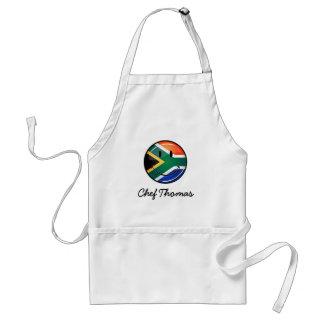 Bandera surafricana feliz redonda brillante delantal
