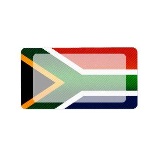 Bandera surafricana pelada moderna etiquetas de dirección