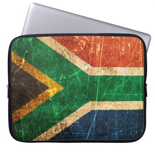Bandera surafricana rasguñada y llevada del vintag manga computadora