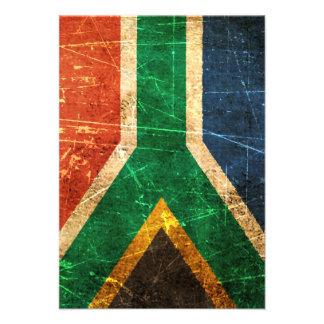 Bandera surafricana rasguñada y llevada del vintag anuncio