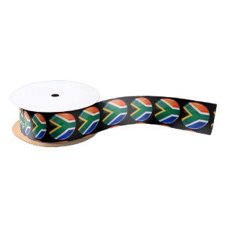 Bandera surafricana redonda brillante lazo de raso