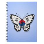 Bandera surcoreana de la mariposa en azul cuaderno