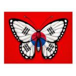 Bandera surcoreana de la mariposa en rojo postales