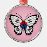 Bandera surcoreana de la mariposa en rosa ornamentos de reyes