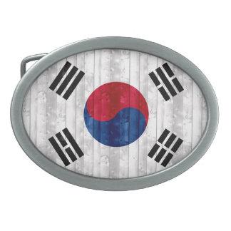 Bandera surcoreana de madera hebillas de cinturón ovales
