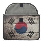 Bandera surcoreana de madera vieja funda para macbooks