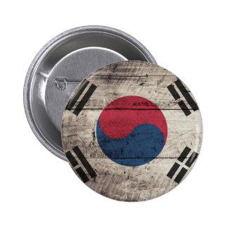 Bandera surcoreana de madera vieja pins