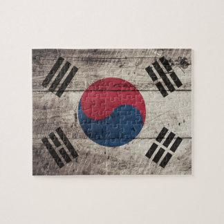 Bandera surcoreana de madera vieja puzzles