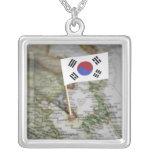 Bandera surcoreana en mapa pendientes personalizados