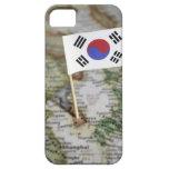 Bandera surcoreana en mapa iPhone 5 protectores