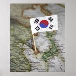 Bandera surcoreana en mapa póster
