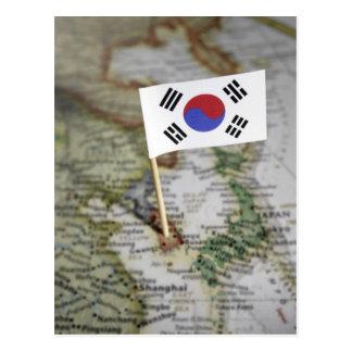 Bandera surcoreana en mapa tarjetas postales