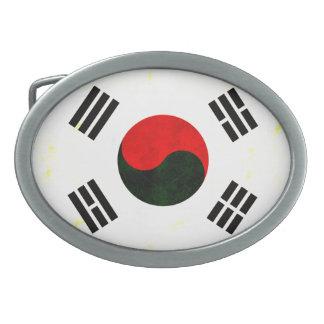 Bandera surcoreana nerviosa moderna hebilla cinturón oval