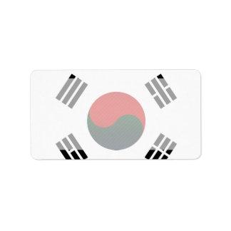 Bandera surcoreana pelada moderna etiquetas de dirección