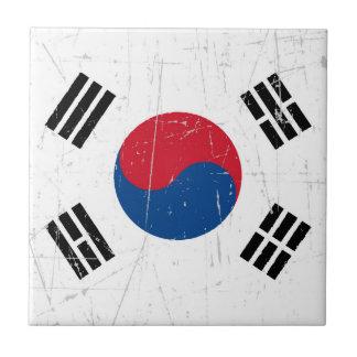 Bandera surcoreana rascada y rasguñada teja  ceramica