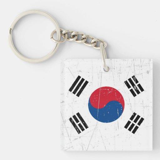 Bandera surcoreana rascada y rasguñada llaveros