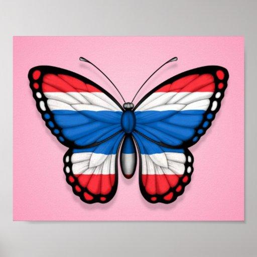 Bandera tailandesa de la mariposa en rosa posters