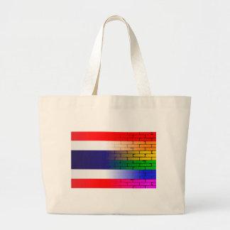 Bandera tailandesa de la pared gay del arco iris bolsa tela grande