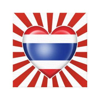 Bandera tailandesa del corazón con la explosión de lona envuelta para galerías