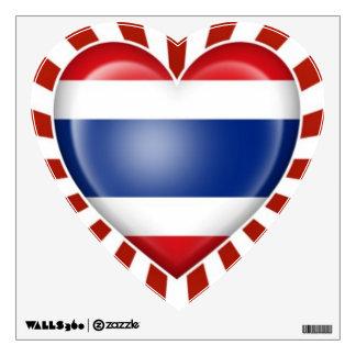 Bandera tailandesa del corazón con la explosión de vinilo