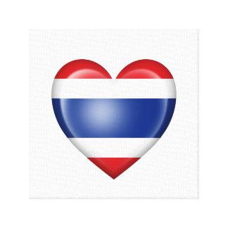 Bandera tailandesa del corazón en blanco lona envuelta para galerías