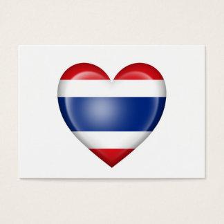 Bandera tailandesa del corazón en blanco tarjetas de visita grandes