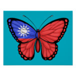 Bandera taiwanesa de la mariposa posters