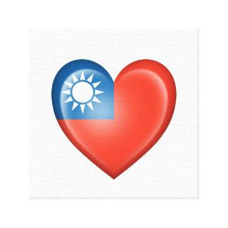 Bandera taiwanesa del corazón en blanco lona envuelta para galerias