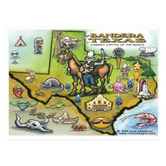 Bandera TEXAS Map Postcard