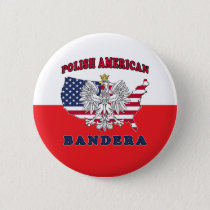 Bandera Texas Polish American Button
