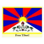 ¡Bandera tibetana - Tíbet libre! Postal
